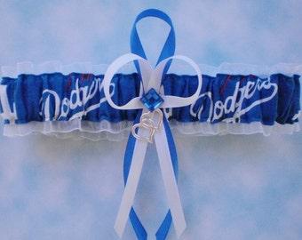 LA Dodgers Fabric MLB Wedding Bridal Garter Toss Double Heart Charm Prom Sport