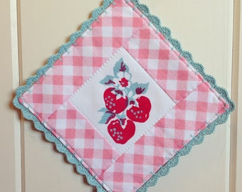 sweet vintage strawberry and pink gingham pot holder