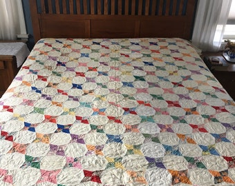 Vintage Quilt, Stained Glass Pattern, Hand Quilted, Feed sack, 40s