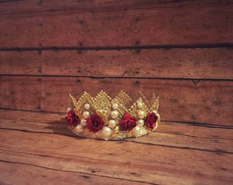 Rustic Antique Lace Vintage Inspired Gold Baby Flower Crown or Crown Headband for Photo Shoots! Photo prop