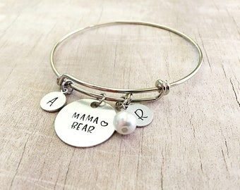 Mom Bracelet with Kids Initials - Personalized Mama Bear Bracelet - Mom Gift from Daughter - Mother's Day Gift from Kids