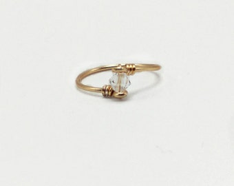 """Dainty Clear crystal """"diamond"""" faceted swarovski Crystal Ring gem bicone bead Rose Gold Silver Copper Bronze"""
