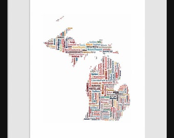 Michigan Typography Map Poster Print Color