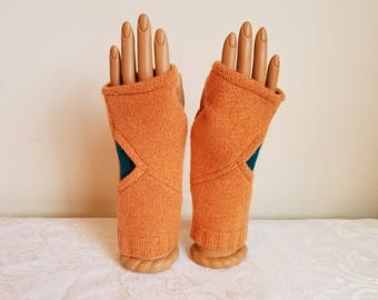 Wedge Fingerless Gloves in Orange and Teal Cashmere
