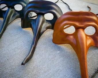 Masque de mascarade vénitien en cuir, masque large fermé les yeux, masque de Mardi Gras