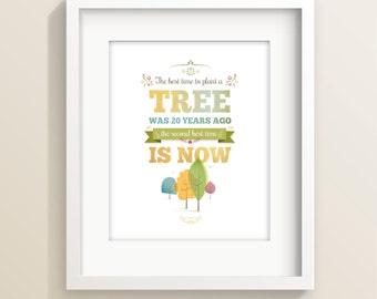 Tree art print, typographic print, inspirational print, nature print, tree illustration, wall art, tree print, home decor, Irene Gough