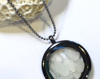 Blackened Memory Floating Locket filled with Frosty White Sea Glass