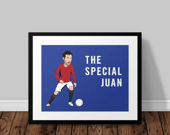 The Special Juan Mata Manchester United Illustrated Poster Print | A6 A5 A4 A3
