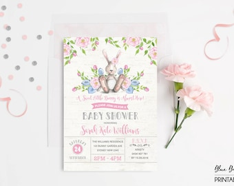 BUNNY Baby Shower Invitation. Easter Rabbit Baby Shower Invite. Baby Boy. Baby Girl. Woodland Invitation. Pink Floral Whimsical Invite BUN1A