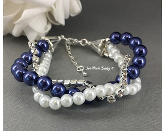 Navy and White Bracelet Pearl and Rhinestones Bracelet Bridesmaids Jewelry Bridesmaid Bracelet Navy Pearl Bracelet Navy Theme Wedding