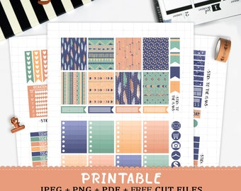 Tribal Feathers printable planner stickers for Erin Condren LifePlannerTM silhouette cut files watercolor feathers navy blue green summer