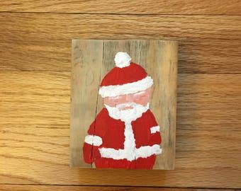 Small rustic wood Santa sign
