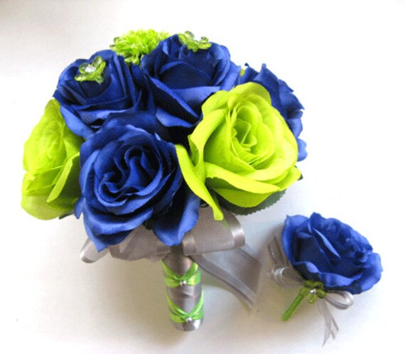 2 Pcs SEATTLE SEAHAWKS NFL Navy Blue Green Silk Flower Wedding Bouquet Free  Shipping Home Decor Bridal Package Centerpiece RosesandDreams