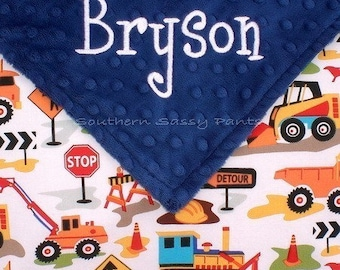 Personalized Blanket for Boy, Construction Blanket, Boys Minky Baby Blankets, Bulldozer, Dump Truck, Backhoe, Tractor, Toddler Boy, 36x40