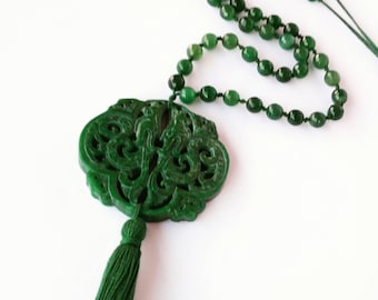 Green Jade necklace with Locket and tassel