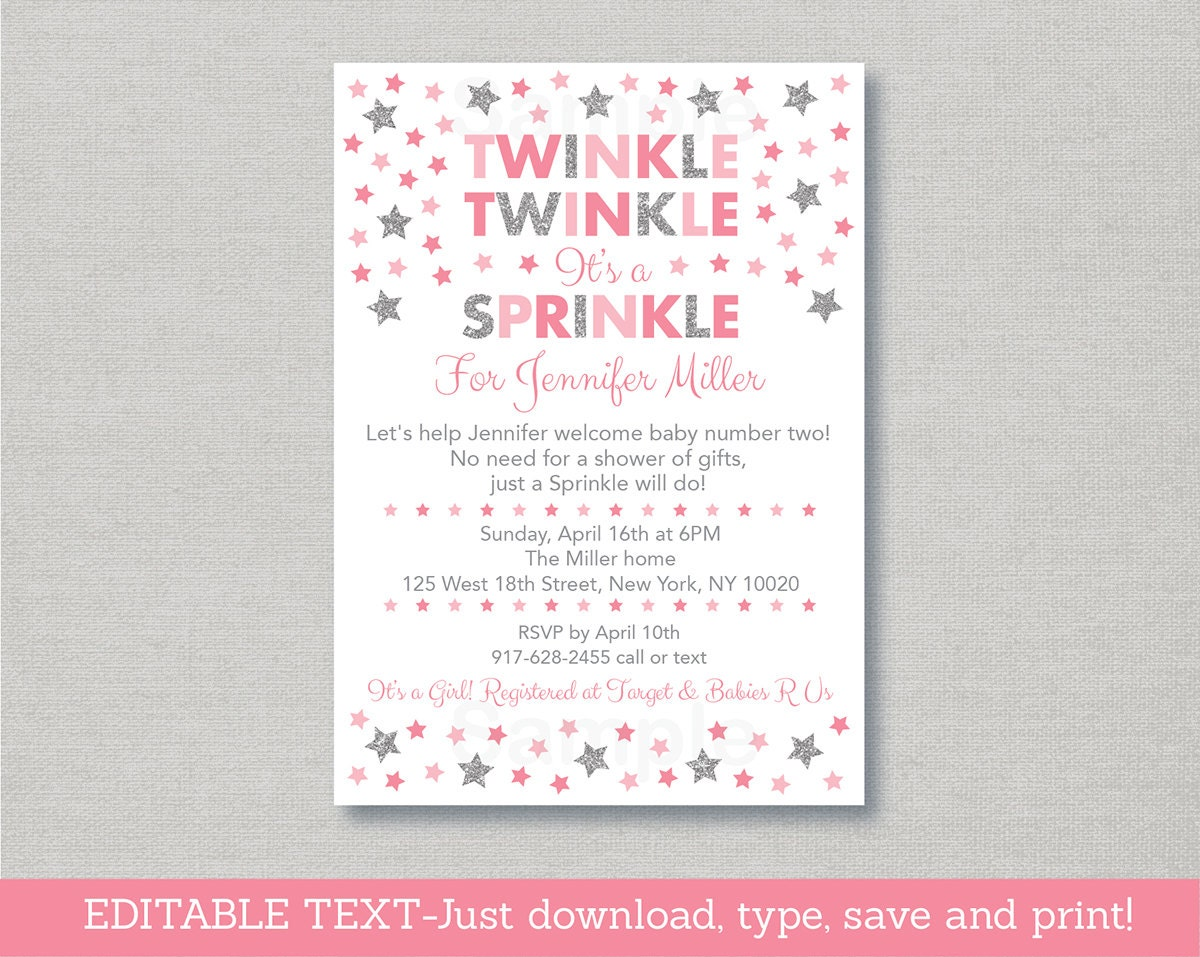 Twinkle Star Baby Sprinkle Invitation / Glitter Star / Twinkle