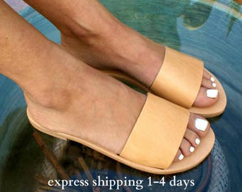 PANOREA sandals/ ancient Greek leather sandals/ slide sandals/ classic leather sandals/ handmade sandals/ summer sandal/ minimalist sandal