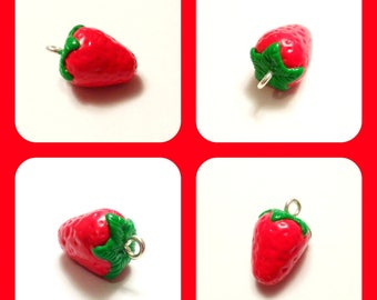 x 1 Fruit Strawberry charm polymer clay hand made
