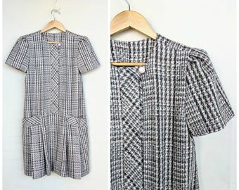 Vintage 60s wool plaid dress / drop waist dress / mod dress / school girl dress / size S
