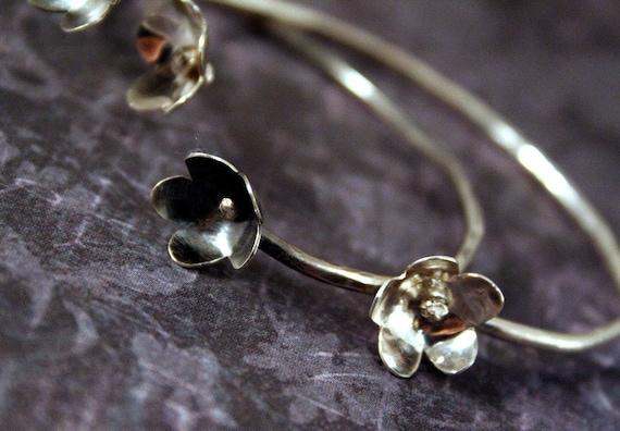 Sterling Silver Flower Cuff