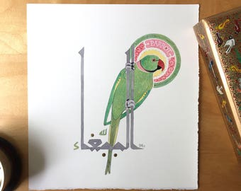 Rose-ringed Parakeet, small painting with kufic calligraphy, natural pigments and gold, original art
