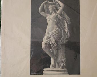 "Antique B & W Wood Engraving, Print, C. 1890s, ""Dancing Bayadere, Belly Dancer, Statuette Depiction, by Rudolf Schweintz, German Print"