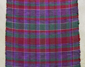 Rag Rug, HIGHLAND Pattern, Handwoven - Wine, Sage Green, Violet (Inv.ID 04-0661)