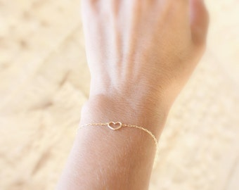 Heart bracelet - Thin Bracelet -  High quality 14k gold fill chain, Sister bracelet, Gift for her,Silver Heart bracelet, layering bracelet