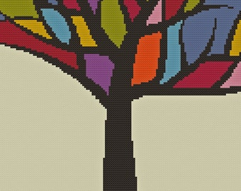 Stained Glass Tree Cross Stitch Pattern  PDF ** Instant Download **