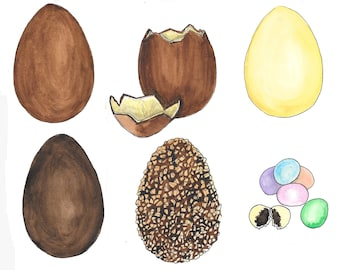 Easter eggs hand drawn watercolor illustration
