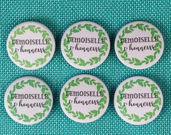 6 badges wedding bridesmaid