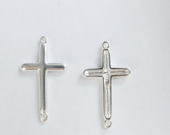 Sterling silver cross connector, link, spacer with 2 loops 9/16x7/8 inches (27x15mm)