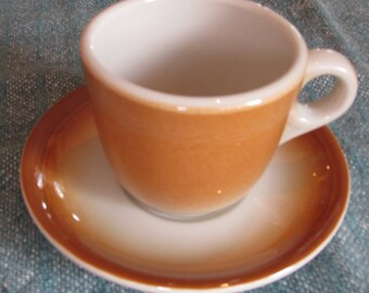 Shenango Restaurant Ware Coffee Cup and Saucer BR and CR 33 Ombre Earthtones