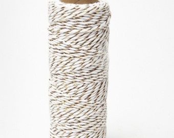 Bakers Twine, 10 yards, Gold/White   Weddings, Gift Wrap, Invitations, Bakery Supplies, Craft Supplies, Jewelry Supplies, Christmas Ribbon