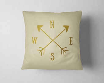 Compass pillow, Decorative Pillow 16x16, Gold pillow, Home decor, Throw pillow, Metallic pillow, Holiday Gift, Compass print