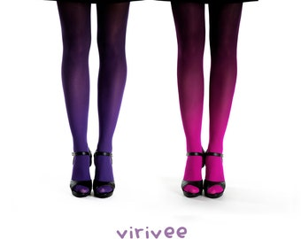 2 ombre tights together / magenta-black and purple-black ombre tights