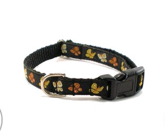"""Fall Amber Butterflies - Small Dog Collar - 1/2"""" (13mm) Wide - Thin Martingale - your choice of style and size // Yellow // Orange // Black"""