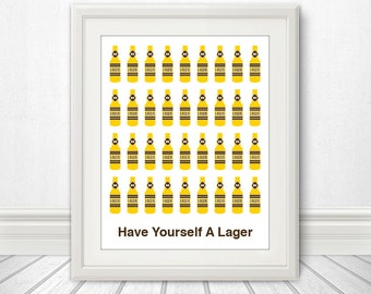 Have Yourself A Lager, Beer, Beer Print, Craft Beer, Bar Art, Local Brew - 11x14
