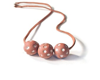 Terracotta Polka Dot Essential Oil Diffuser Necklace, Aromatherapy Jewelry