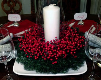Red Berry & Evergreen Centerpiece