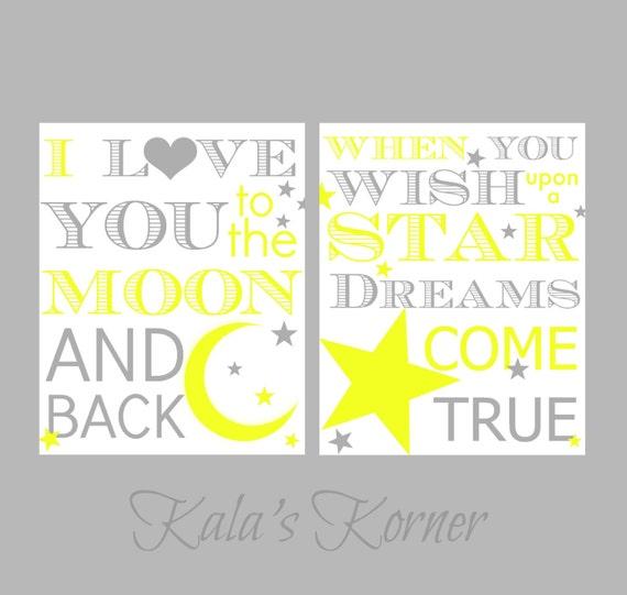 Nursery Art Moon and Stars Yellow and Gray Nursery Love