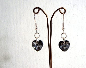 Grey AB Heart Earrings - Swarovski Elements