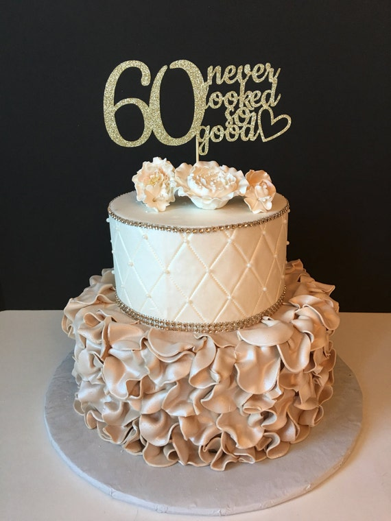 Any Number Gold Glitter 60th Birthday Cake Topper 60 Never