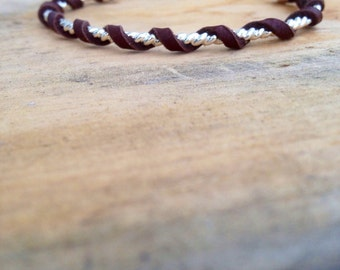 Leather wrapped sterling silver bracelet