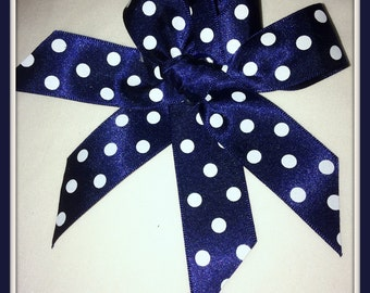 Navy & White Polka dot Hair Bow with tails