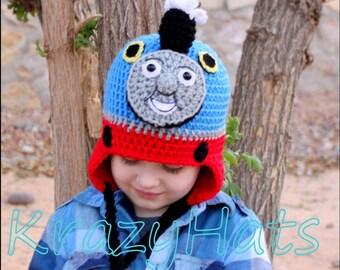 Crochet train hat.Crochet bl;ue train hat.