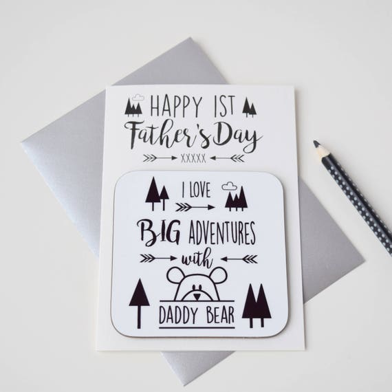 First Father's Day card - Big adventures with daddy bear - Superhero daddy bear - Daddy card