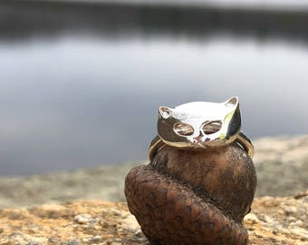 Handmade Sterling Silver Cat Mask Ring