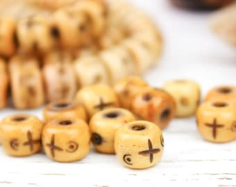 Natural Ox Bone Carved Round Rondelle Beads, Antique Tea Stained, 6.5x9mm, 30 Beads, G23, Rustic Boho Primitive