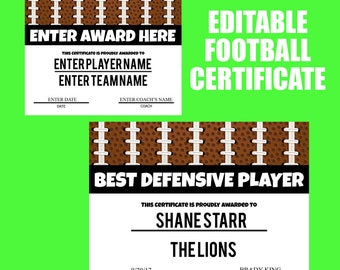 Football certificates templates youth football kid football award certificate football digital print football end of season party football printable yadclub Choice Image